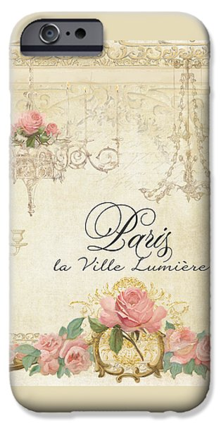 Antiques Mixed Media iPhone Cases - Parchment Paris - City of Light Chandelier Candelabra Chalk Roses iPhone Case by Audrey Jeanne Roberts