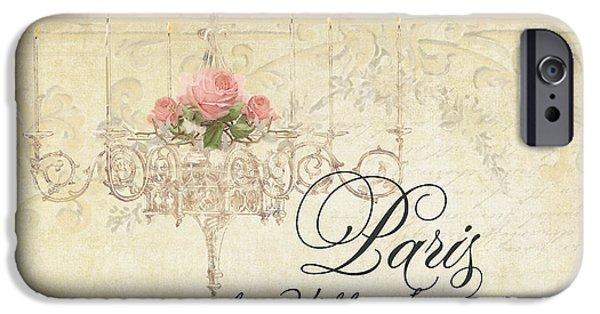 Plaster iPhone Cases - Parchment Paris - City of Light Rose Chandelier w Plaster Walls iPhone Case by Audrey Jeanne Roberts