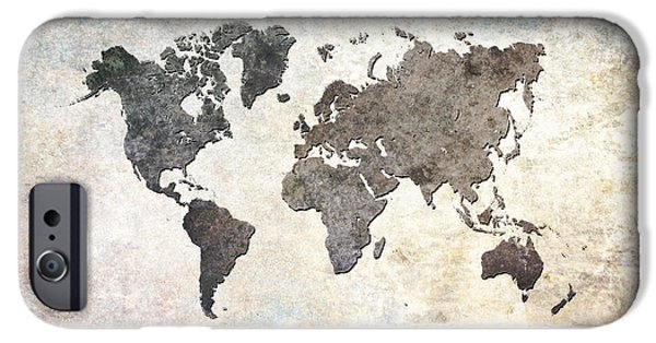 Earth Map Digital iPhone Cases - Parchment World Map iPhone Case by Douglas Pittman