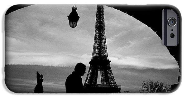 Monotone Pyrography iPhone Cases - Paris . Bir-Hakem. iPhone Case by Cyril Jayant