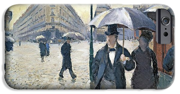 Urban Buildings iPhone Cases - Paris a Rainy Day iPhone Case by Gustave Caillebotte