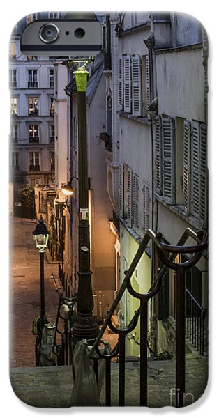 Night Lamp iPhone Cases - Paris at Night iPhone Case by Juli Scalzi