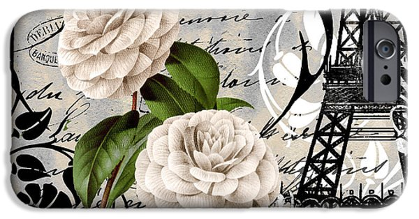 Paris Paintings iPhone Cases - Paris Blanc II iPhone Case by Mindy Sommers