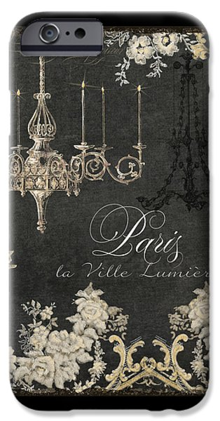 Board Mixed Media iPhone Cases - Paris - City of Light Chandelier Candelabra Chalk iPhone Case by Audrey Jeanne Roberts