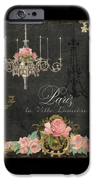 Board Mixed Media iPhone Cases - Paris - City of Light Chandelier Candelabra Chalk Roses iPhone Case by Audrey Jeanne Roberts