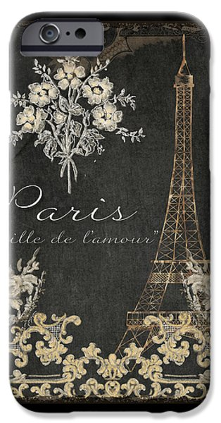 Board Mixed Media iPhone Cases - Paris - City of Love Eiffel Tower Chalk iPhone Case by Audrey Jeanne Roberts