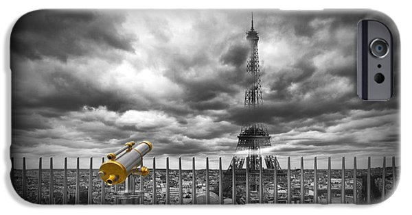 Architecture Digital iPhone Cases - PARIS Composing iPhone Case by Melanie Viola