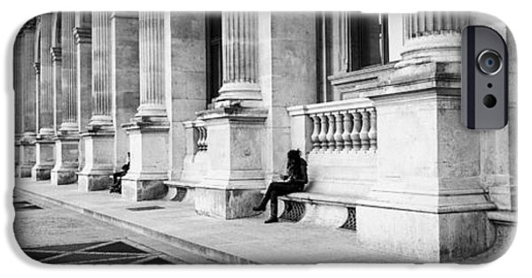 Panoramic Pyrography iPhone Cases - Paris  Cour du louvre in panorama.Tags architecture city architecture canvas prins ii-de-france pano iPhone Case by Cyril Jayant