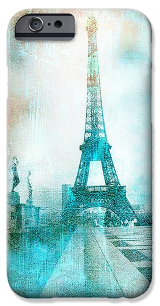 Print Photographs iPhone Cases - Paris Eiffel Tower Aqua Impressionistic Abstract iPhone Case by Kathy Fornal