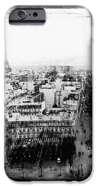 Monotone Pyrography iPhone Cases - Paris Etoile. iPhone Case by Cyril Jayant