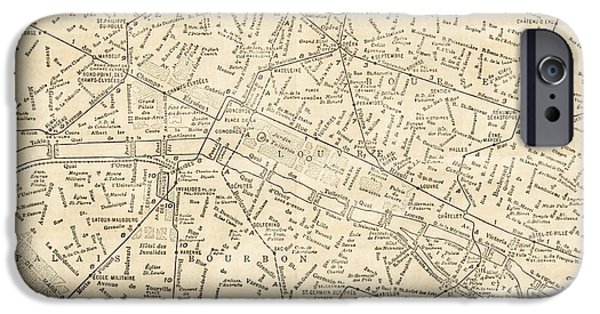 Old Digital Art iPhone Cases - Paris France Vintage Antique Historic Railroad City Map iPhone Case by ELITE IMAGE photography By Chad McDermott