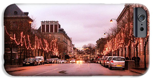 Night Lamp iPhone Cases - Paris Holiday Christmas Street Scene - Christmas In Paris iPhone Case by Kathy Fornal