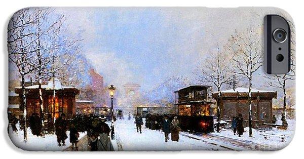 Snow iPhone Cases - Paris in Winter iPhone Case by Luigi Loir