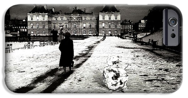Monotone Pyrography iPhone Cases - Paris Luxembourg Garden. iPhone Case by Cyril Jayant