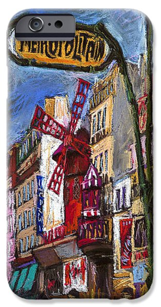 Old Pastels iPhone Cases - Paris Mulen Rouge iPhone Case by Yuriy  Shevchuk