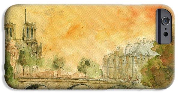 Universities Paintings iPhone Cases - Paris notre dame iPhone Case by Juan  Bosco