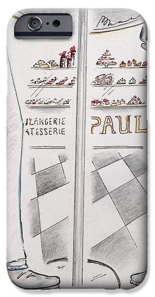 Snack Drawings iPhone Cases - Paris Patisserie iPhone Case by Barbara Chase