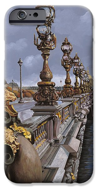 Paris-pont Alexandre III iPhone Case by Guido Borelli