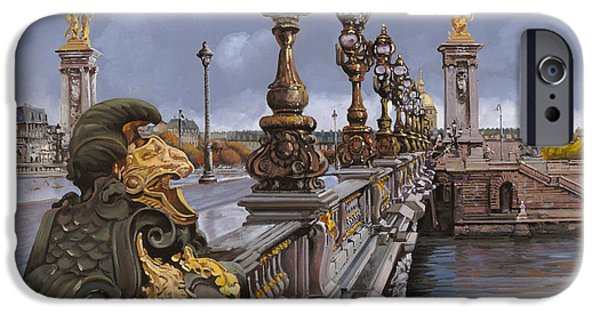 Bronze iPhone Cases - Paris-pont Alexandre III iPhone Case by Guido Borelli