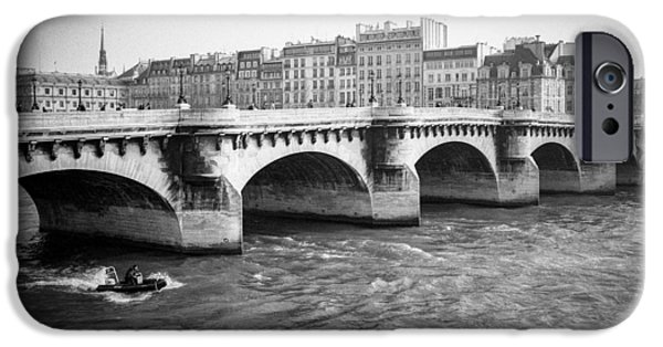 Monotone Pyrography iPhone Cases - Paris Pont Neuf . iPhone Case by Cyril Jayant