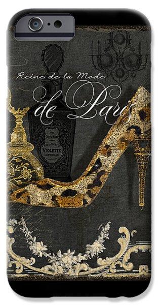 Board Mixed Media iPhone Cases - Paris - Queen of Fashion - Reine de la Mode de Paris iPhone Case by Audrey Jeanne Roberts