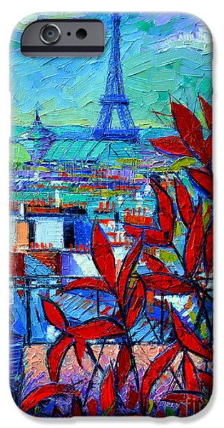 Facade iPhone Cases - Paris Rooftops - View From Printemps Terrace   iPhone Case by Mona Edulesco