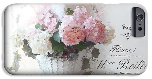 Basket iPhone Cases - Paris Shabby Chic Romantic Pink White Hydrangeas In Basket - Paris Romantic Basket of Flowers iPhone Case by Kathy Fornal