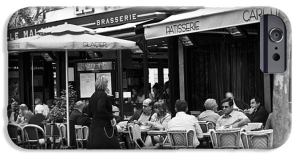 Wine Service Photographs iPhone Cases - Paris Street Cafe - Le Malakoff iPhone Case by Nomad Art And  Design