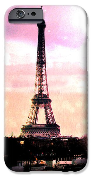 Hot Air Balloon iPhone Cases - Paris Surreal Eiffel Tower Pink Yellow Abstract iPhone Case by Kathy Fornal