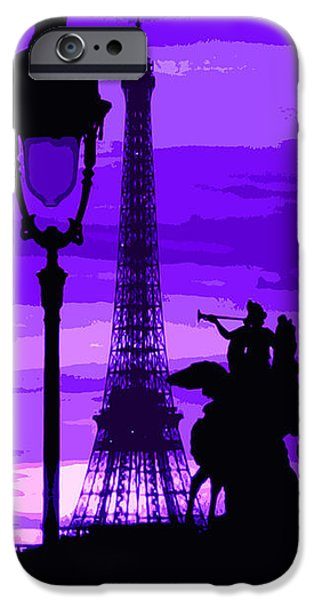 Abstract Digital Art iPhone Cases - Paris Tour Eiffel Violet iPhone Case by Yuriy  Shevchuk