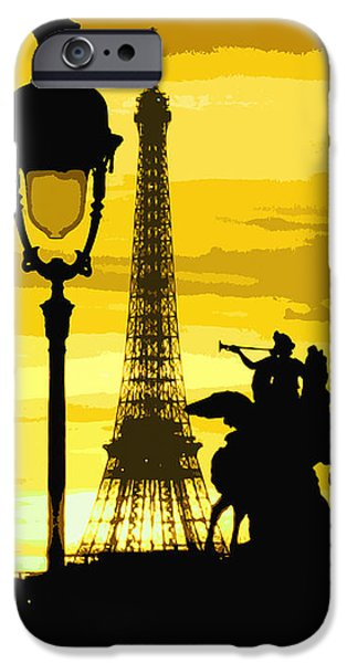 Lights Digital iPhone Cases - Paris Tour Eiffel Yellow iPhone Case by Yuriy  Shevchuk