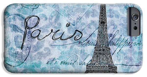 Blue Abstracts iPhone Cases - Paris - v01t01a iPhone Case by Variance Collections