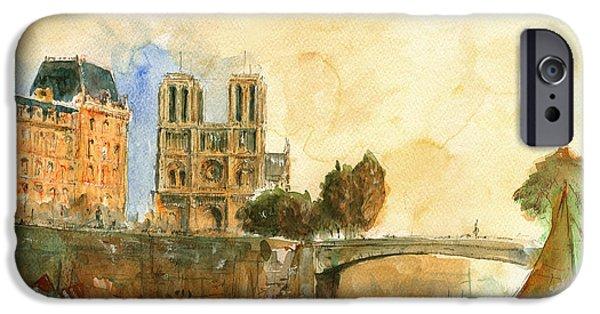 Universities Paintings iPhone Cases - Paris watercolor iPhone Case by Juan  Bosco