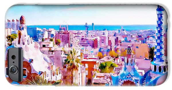 Marian iPhone Cases - Park Guell Watercolor painting iPhone Case by Marian Voicu