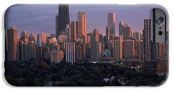 Sears Tower iPhone Cases - Park In A City, Lincoln Park, Chicago iPhone Case by Panoramic Images