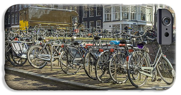 Canal Street Line iPhone Cases - Parked bikes in Amsterdam iPhone Case by Patricia Hofmeester
