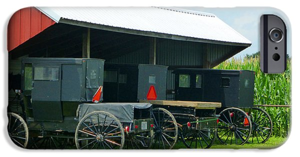 Amish Community Photographs iPhone Cases - Parked Buggies iPhone Case by Tina M Wenger