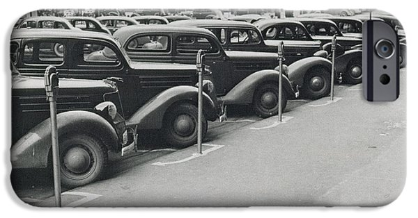 Nebraska iPhone Cases - Parked Cars and Meters 1938 iPhone Case by Photo Researchers