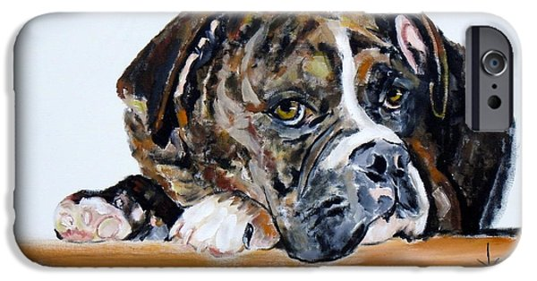 Dogs iPhone Cases - Parker the Boxer iPhone Case by Jodie Marie Anne Richardson Traugott          aka jm-ART