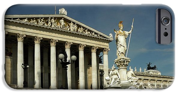 Equestrian Center iPhone Cases - Parliament in Vienna Austria iPhone Case by Sally Weigand