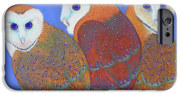 Barns Pastels iPhone Cases - Parliament of Owls detail 2 iPhone Case by Tracy L Teeter