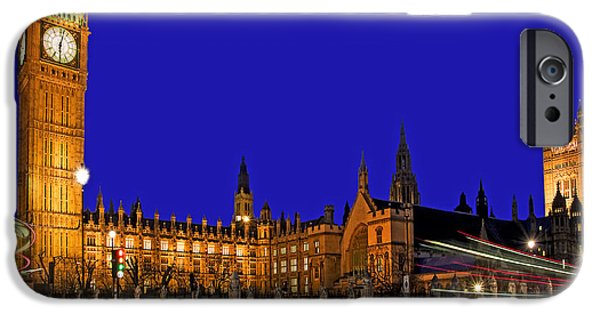 The Clock iPhone Cases - Parliament Square in London iPhone Case by Chris Smith