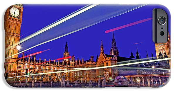 The Clock iPhone Cases - Parliament Square with Silhouette iPhone Case by Chris Smith