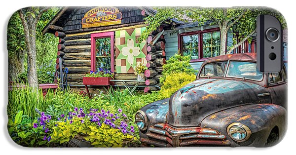 Old Cars iPhone Cases - Part of The Garden iPhone Case by Debra and Dave Vanderlaan