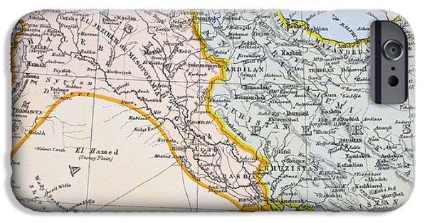 Iraq iPhone Cases - Partial Map Of Turkey Kurdistan Iraq iPhone Case by Ken Welsh