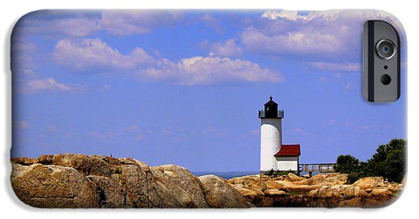 Recently Sold -  - New England Lighthouse iPhone Cases - Partly Cloudy Skies iPhone Case by Hanni Stoklosa