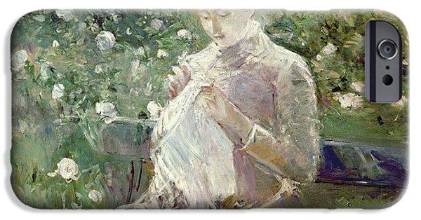 Garden iPhone Cases - Pasie sewing in Bougivals Garden iPhone Case by Berthe Morisot