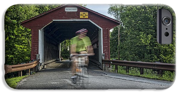 Covered Bridge iPhone Cases - Passing Through iPhone Case by Stephen Stookey