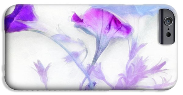Concept Art iPhone Cases - Pastel and Petunias iPhone Case by Hal Halli