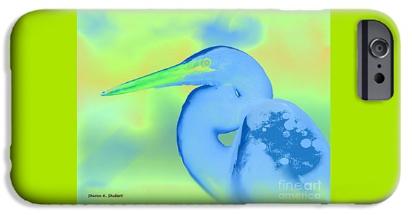 Pastel iPhone Cases - Pastel Blue Heron iPhone Case by Sharon K Shubert